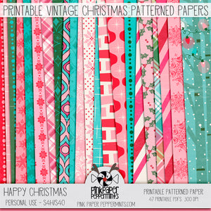Happy Christmas - Printable Vintage Christmas Inspired digital paper kit - For Junk Journals, Faith Journals, Bible Journaling or Scrapbooking