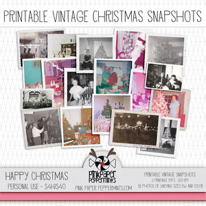 Happy Christmas - Printable Vintage Christmas Photo snapshots - For Junk Journals, Faith Journals, Bible Journaling or Scrapbooking