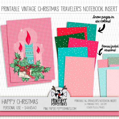 Happy Christmas - Printable Vintage Christmas Traveler's Notebook Insert - For Faith-Based Art Journal, Bible Journaling or Prayer Journal