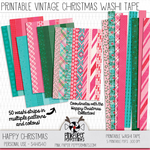 Happy Christmas - Digital Christmas Washi Tape - For Junk Journals, Faith Journals, Bible Journaling or Scrapbooking
