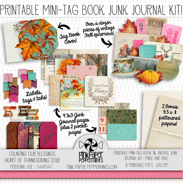 Heart of Thanksgiving 18 - Printable Vintage Mini Junk Journal Kit -Tags, Labels, Ephemera and More!  - Faith Journal Kit - Perfect for Scrapbooking, Junk Journaling, Faith Journaling, Art Journals and Prayer Journals