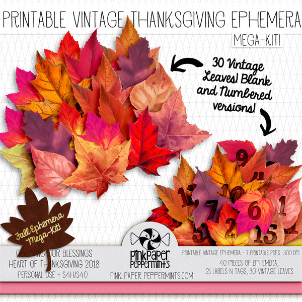 Heart of Thanksgiving 18 - Printable Vintage Ephemera Mega Kit for Junk Journals, Bible Journaling, Faith Journals and Prayer Journals