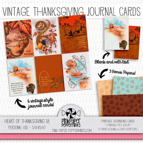 Heart of Thanksgiving 18 - Journal Cards -Vintage Thanksgiving-themed cards for Bible Journaling, Faith Art, Prayer Journals and Junk Journals