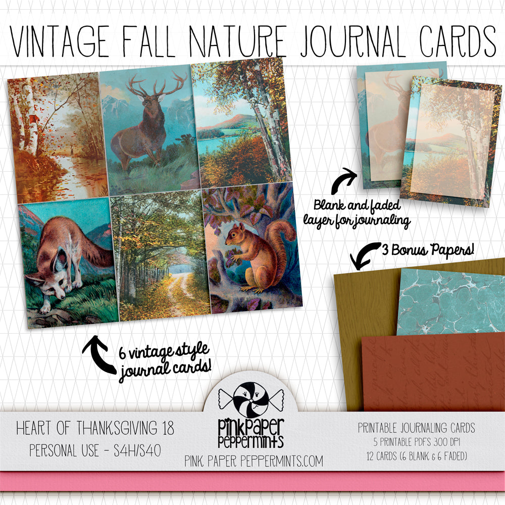 Heart of Thanksgiving 18 - Journal Cards -Vintage Fall themed cards for Bible Journaling, Faith Art, Prayer Journals and Junk Journals
