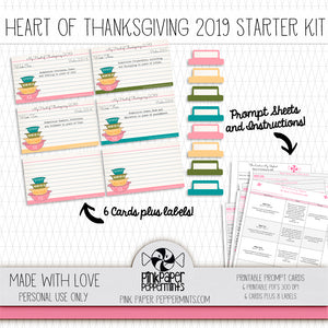 Heart of Thanksgiving 2019 Starter Kit - Printable Prompt Cards - for traveler's notebooks, junk journals, scrapbooks
