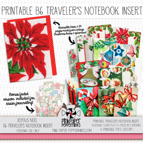 Joyous Noel - B6 printable traveler's notebook insert - Pink Paper Peppermints