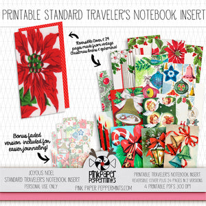 Joyous Noel - Standard Sized printable traveler's notebook insert - Pink Paper Peppermints