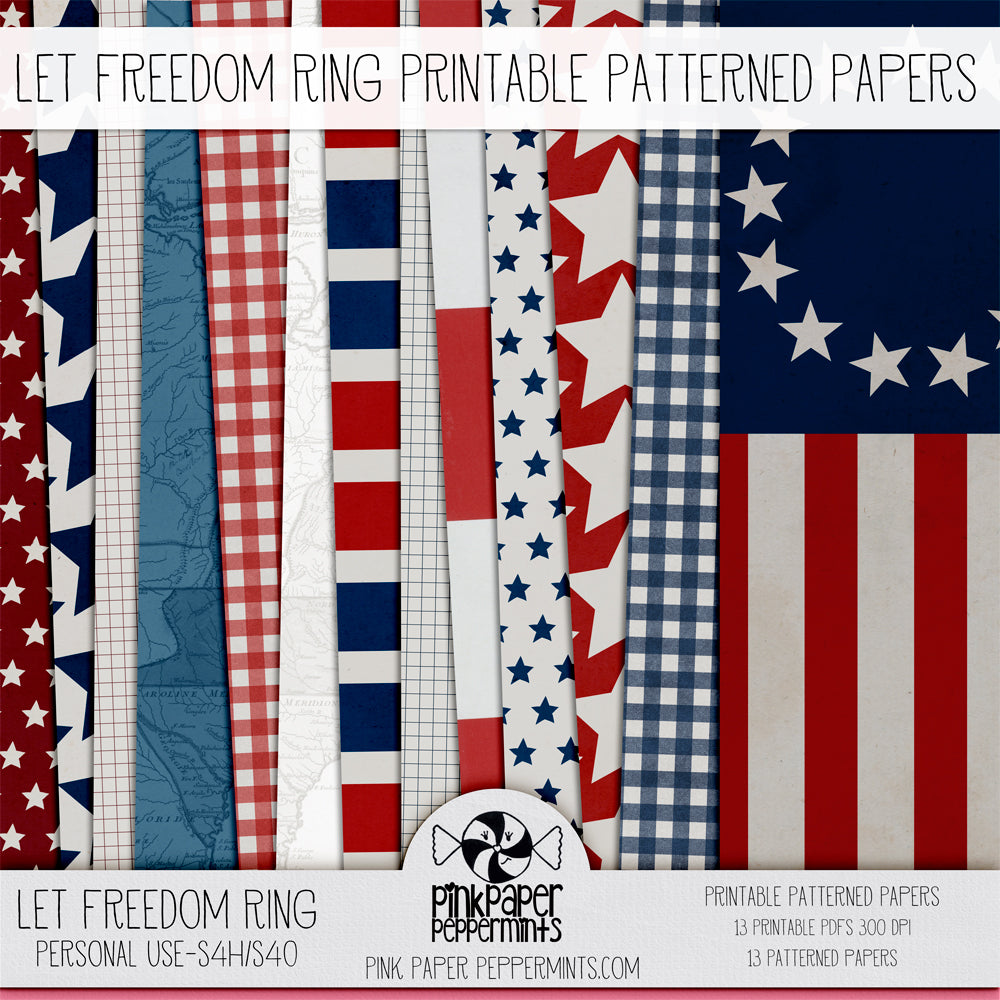 Let Freedom Ring- 4th of July Patriotic Printable paper pack for faith journaling, bible journaling and prayer journals