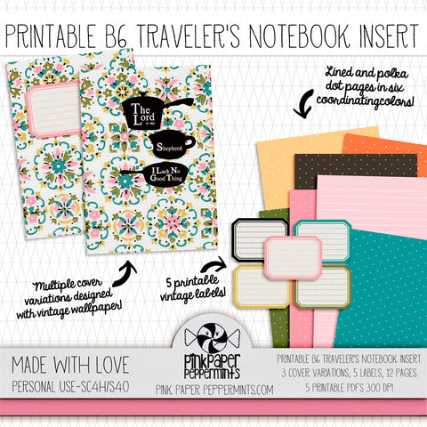 Made with Love - Printable Vintage Kitchen Wallpaper Traveler's Notebook Insert - For Faith-Based Art Journal, Bible Journaling or Prayer Journal
