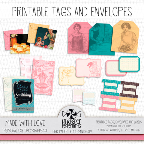 Made with Love - Printable Vintage Tags & Envelopes kit - For Junk Journals, Faith Journals, Bible Journaling or Scrapbooking