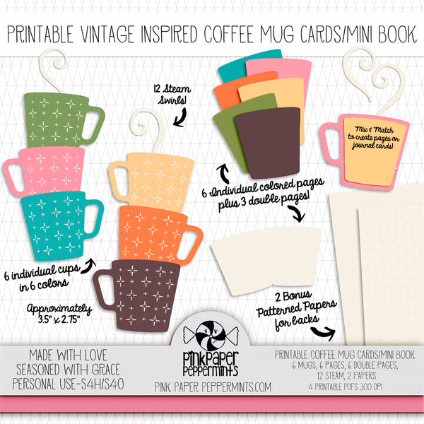 Made with Love - Printable Vintage Mug mini book - for traveler's notebooks, junk journals, scrapbooks