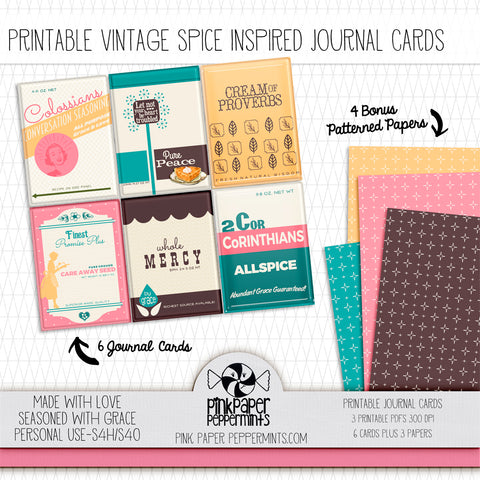 Made with Love - Printable Vintage Kitchen Journaling Cards - For Faith-Based Art Journal, Bible Journaling or Scrapbooking