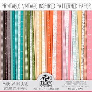 Made with Love - Printable Vintage Wallpaper Inspired digital paper kit - For Junk Journals, Faith Journals, Bible Journaling or Scrapbooking