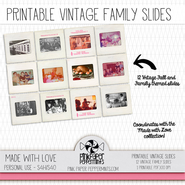 Made with Love - Printable Vintage Photo Slides kit - For Junk Journals, Faith Journals, Bible Journaling or Scrapbooking