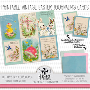Oh Happy Day! - All Creatures - Vintage Easter/Spring Journaling Cards - Pink Paper Peppermints