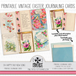 Oh Happy Day! - New Song - Vintage Easter/Spring Journaling Cards - Pink Paper Peppermints