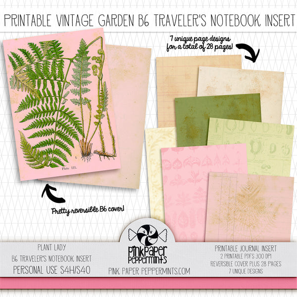 Plant Lady - B6 Traveler's Notebook Insert - Printable Vintage Junk Journal - Perfect for Faith-Based Art Journal, Garden or Prayer Journal