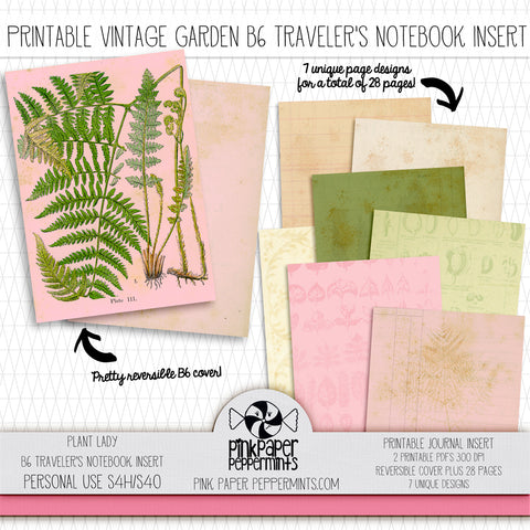 Plant Lady Vintage Botanicals- B6 Traveler's Notebook Insert - Printable Vintage Junk Journal - Perfect for Faith-Based Art Journal, Garden or Prayer Journal