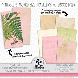Plant Lady - Standard Traveler's Notebook Insert - Printable Vintage Junk Journal - Perfect for Faith-Based Art Journal, Garden or Prayer Journal