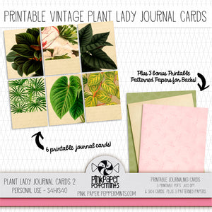 Plant Lady - Vintage Botanicals Themed Journal Cards for Bible Journaling, Scrapbooking and Junk Journals