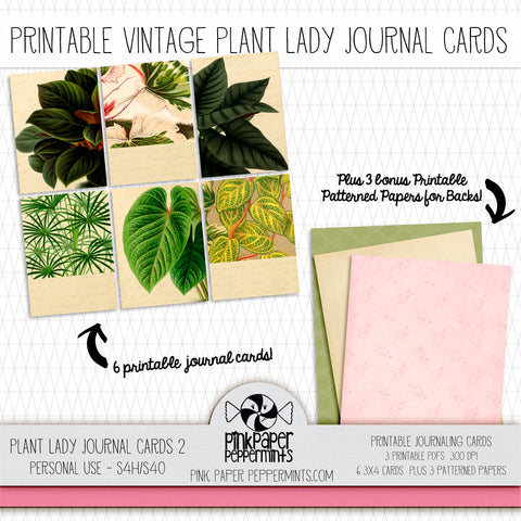 Plant Lady - Vintage Plant and Garden Themed Journal Cards for Bible Journaling, Scrapbooking and Junk Journals