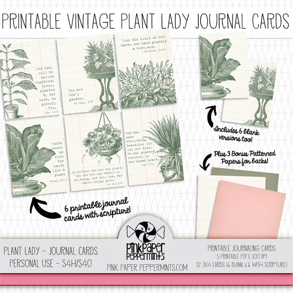 Plant Lady - Vintage Botanicals Themed Journaling Card Tip-ins for Bible Journaling, Scrapbooking and Junk Journals