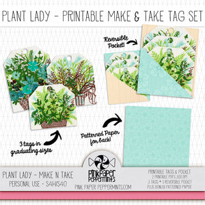 Plant Lady- Printable Vintage Plants Tags & Pockets for Junk Journals, Traveler's Notebooks, Bible Journaling and Planners