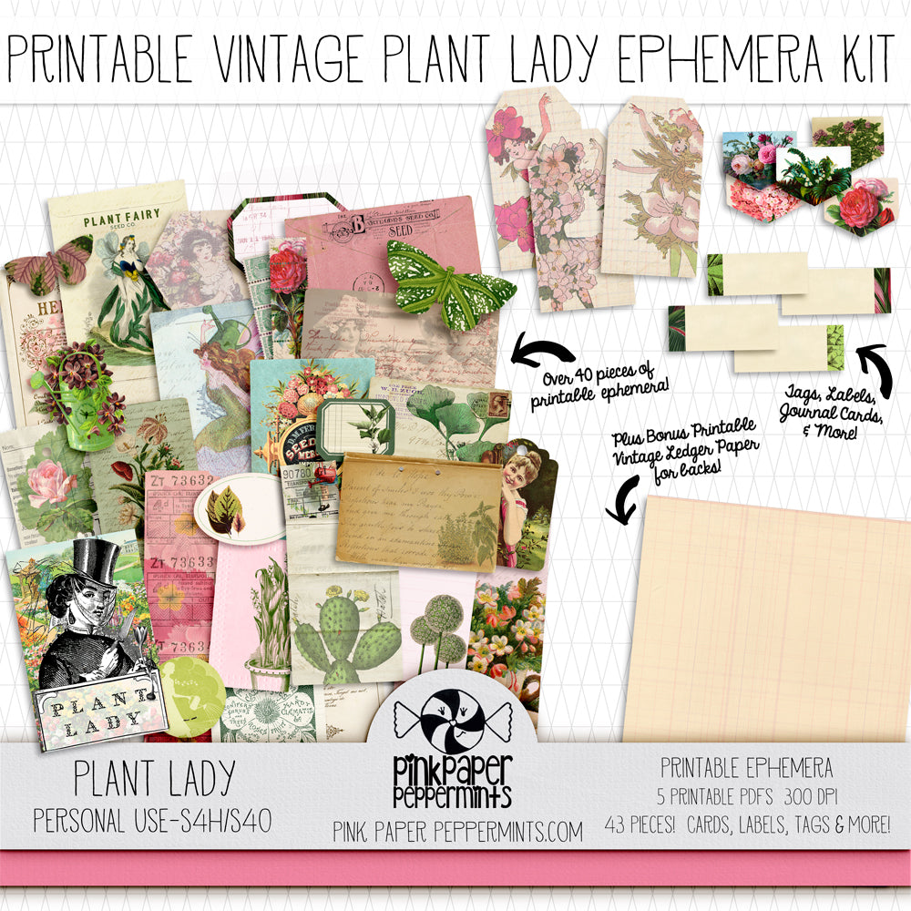 Plant Lady - Printable Vintage Botanicals Ephemera for Junk Journals, Bible Journaling and Faith Art