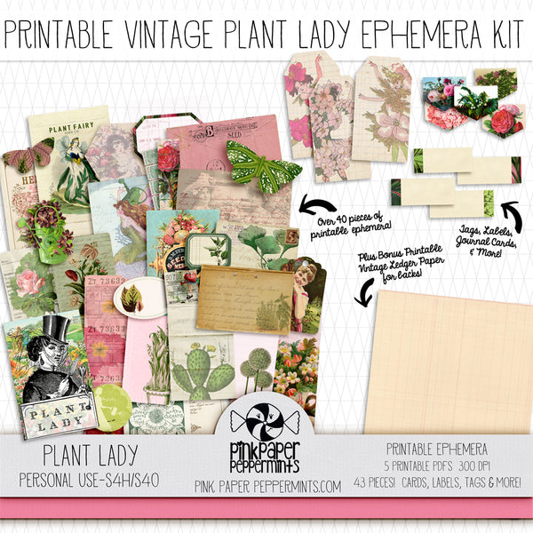 Plant Lady - Printable Vintage Ephemera for Junk Journals, Bible Journaling and Faith Art