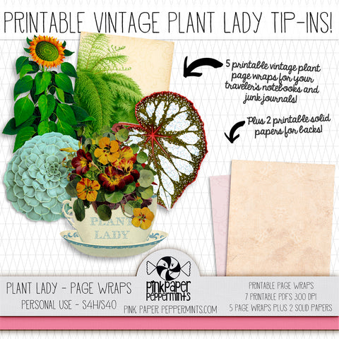 Plant Lady- Vintage Botanicals Traveler's Notebook Insert Tip-ins - Page Wraps or Mini Books for Bible Journaling, Faith Art, Prayer Journals and Junk Journals