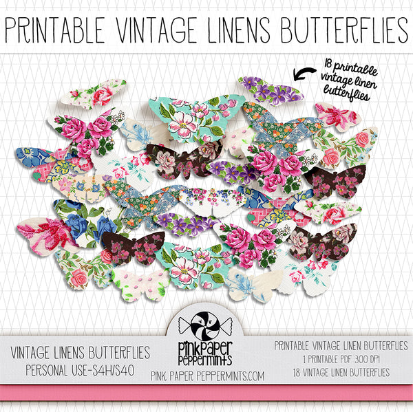 Rhythms of Grace - Vintage Linens Printable Butterflies for collage, bible journaling, junk journals, scrapbooking, pocket scrapping and illustrated faith.