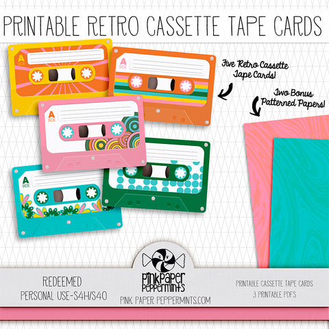 Redeemed - Printable 1970's Retro Cassette Tape cards - For Faith-Based Art Journal, Bible Journaling or Scrapbooking