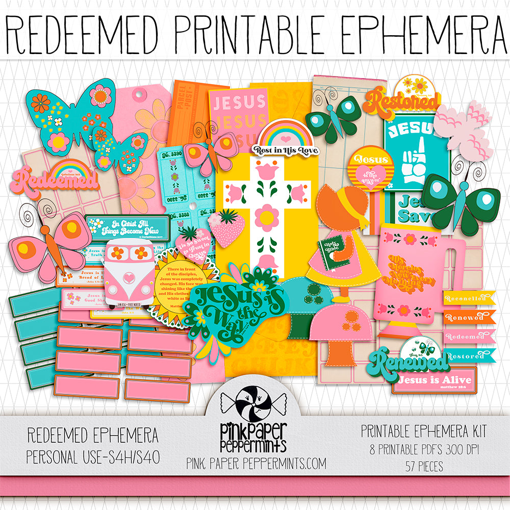 Redeemed - 70's Retro Printable Ephemera - For Faith-Based Art Journal, Bible Journaling or Scrapbooking