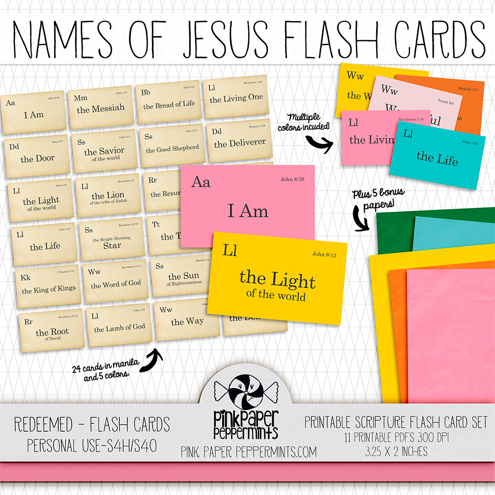 Redeemed - Printable Bible Verse Flash Cards - For Faith-Based Art Journal, Bible Journaling or Scrapbooking