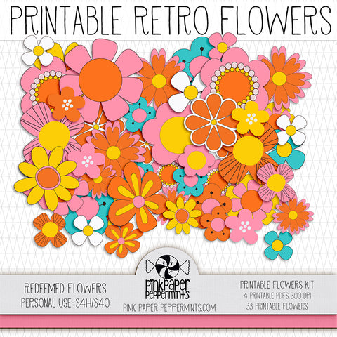 Redeemed - Printable Retro Flowers - For Faith-Based Art Journal, Bible Journaling or Scrapbooking