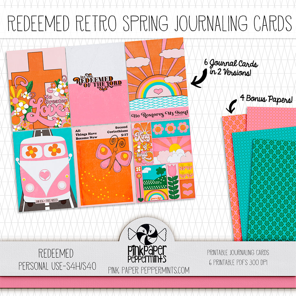 Redeemed - Printable Retro Journaling Cards - For Faith-Based Art Journal, Bible Journaling or Scrapbooking