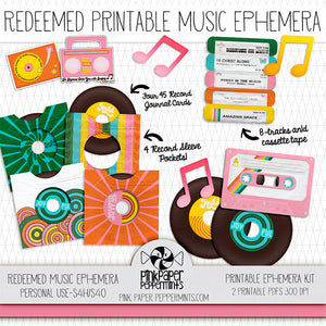 Redeemed - Printable Retro Music Ephemera - For Faith-Based Art Journal, Bible Journaling or Scrapbooking