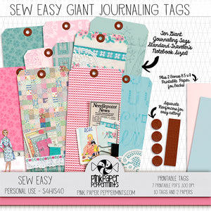 Sew Easy - Printable Giant Journal Tags - For Junk Journals, Faith Journals, Bible Journaling or Scrapbooking
