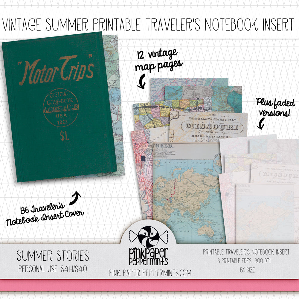 Summer Stories - Printable Vintage Summer Vacation Traveler's Notebook Insert - For Faith-Based Junk Journal, Scrapbook or Prayer Journal