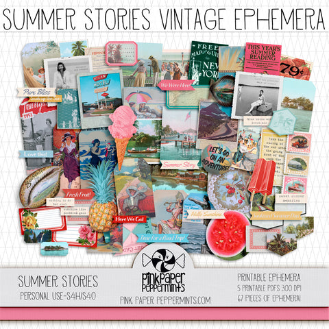 Summer Stories - Printable Vintage Vacation Ephemera - Junk Journal Kit - Perfect for Scrapbooking, Junk Journaling, Faith Journaling, Art Journals and Prayer Journals