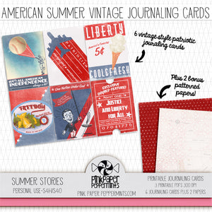 Summer Stories - Printable Vintage American Summer Journaling Cards - Faith Journal Kit - Perfect for Scrapbooking, Junk Journaling, Faith Journaling, Art Journals and Prayer Journals