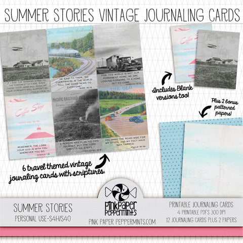 Summer Stories - Printable Vintage Journaling Cards - Faith Journal Kit - Perfect for Scrapbooking, Junk Journaling, Faith Journaling, Art Journals and Prayer Journals