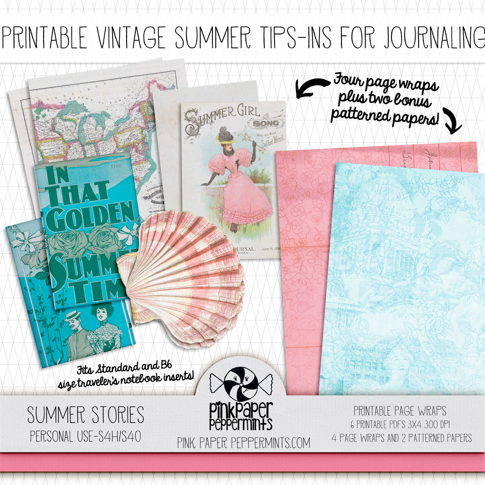 Summer Stories - Printable Vintage Vacation Tip-Ins - Perfect for Scrapbooking, Junk Journaling, Faith Journaling, Art Journals and Prayer Journals