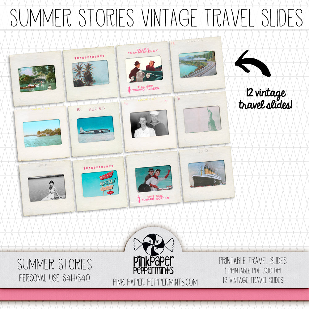 Summer Stories - Printable Vintage Travel Slides - Perfect for Scrapbooking, Junk Journaling, Faith Journaling, Art Journals and Prayer Journals