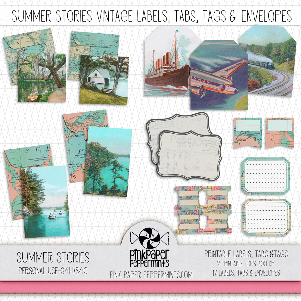 Summer Stories - Printable Vintage Envelopes, Tags & Labels Kit - Perfect for Scrapbooking, Junk Journaling, Faith Journaling, Art Journals and Prayer Journals