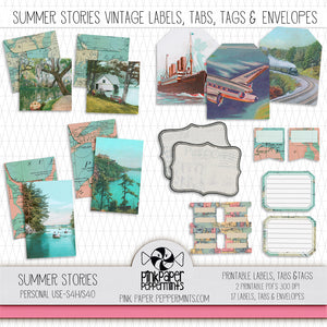 picture relating to Printable Vintage Labels named Summer season Studies - Printable Classic Envelopes, Tags Labels Package - Excellent for Sbooking, Junk Journaling, Religion Journaling, Artwork Magazines and Prayer