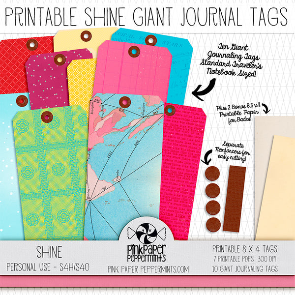 Colorful Giant Journaling Tags - Printable Vintage Tags for junk journals, bible journaling, traveler's notebooks and scrapbooks