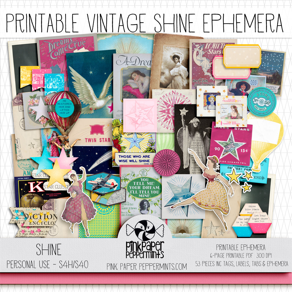 Shine - Printable Vintage Ephemera Kit for Junk Journals, Bible Journaling, Faith Journals and Prayer Journals