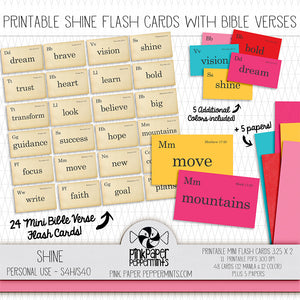 Shine - Printable Bible Verse Flash Cards - For Faith-Based Art Journal, Bible Journaling or Scrapbooking