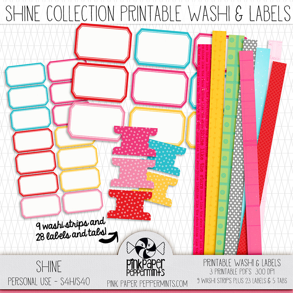 Shine Printable Washi Tape & Labels - For Faith-Based Art Journal, Bible Journaling or Scrapbooking